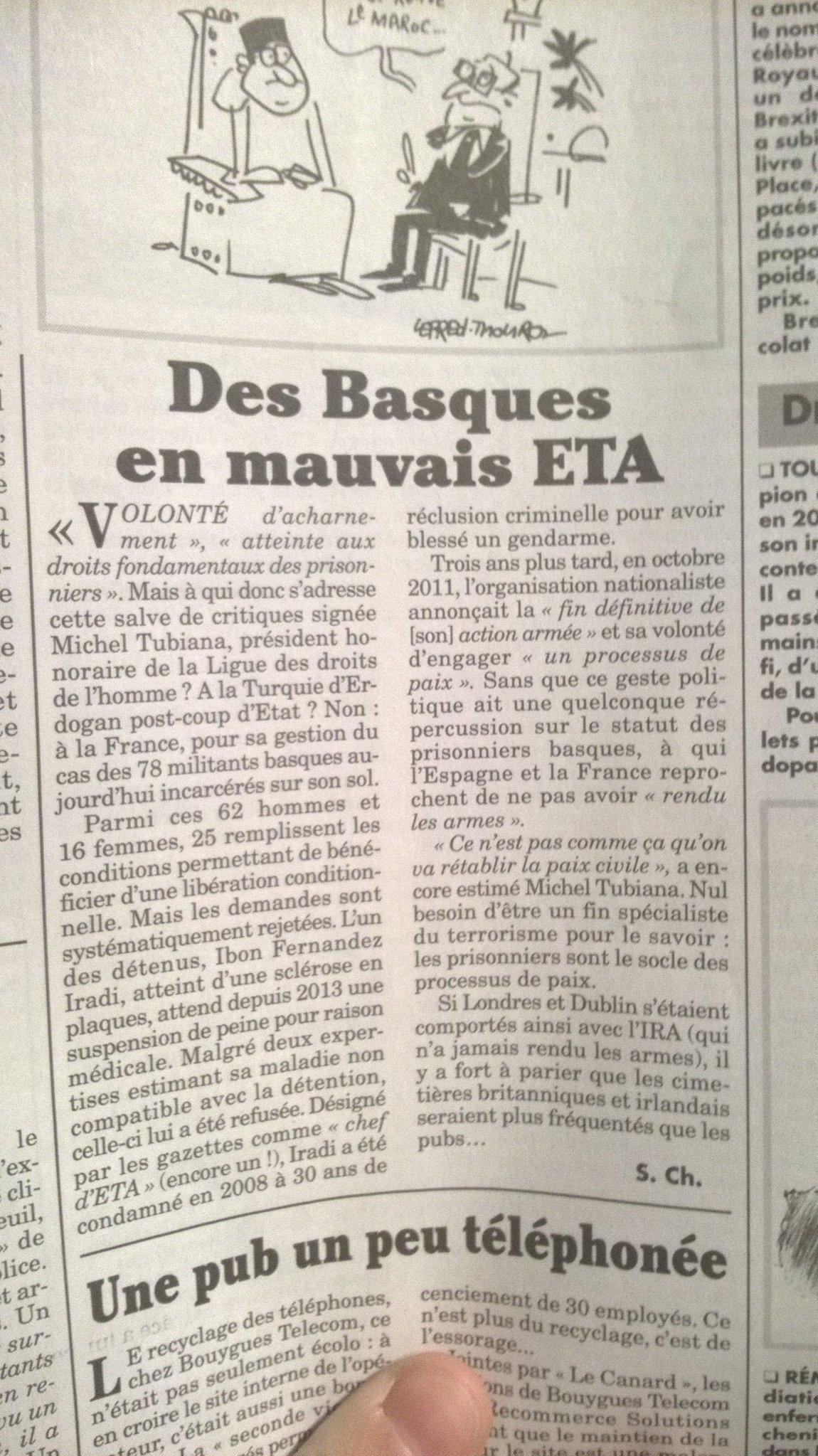 Article du Canard Enchaîné : Des Basques en mauvais ETA